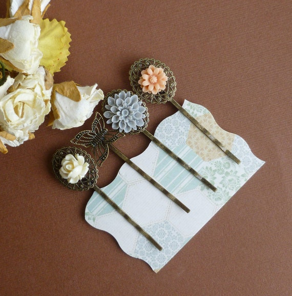 Spring Vintage -- Vintage Style Hair Pin Set  -- Antiqued Brass Hair Accessory Set