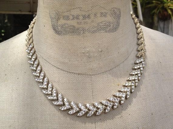 Antique art deco chevron link past rhinestone necklace bride bridal wedding