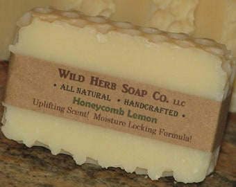 NATURAL SOAP Bar, CreamyLather, Honeycomb Bee Theme Made From Scratch - LEMON Essential Oil (Made by Cold Process from Scratch) Organic Oils