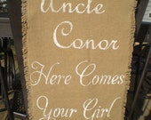 Personalized  Here Comes The Bride Sign/  Here Comes Your Girl Burlap Wedding Sign  decoration Rustic woodland