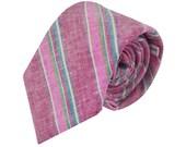 SALE Necktie - Fandango and Antique Fuchsia Chambray Stripe