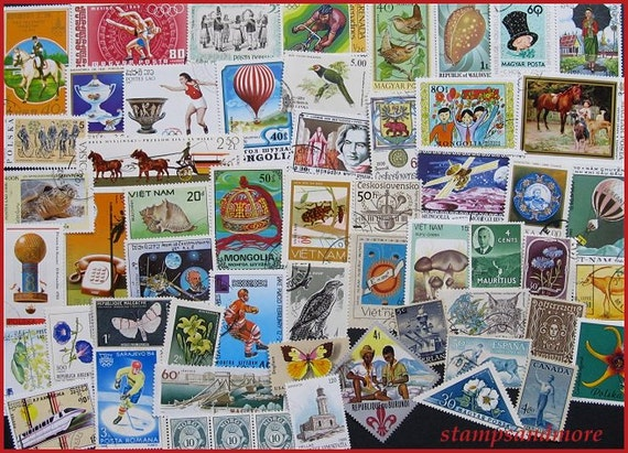 Lot Of Vintage Postage Stamps - Collecting - Craft Projects - Scrapbooking