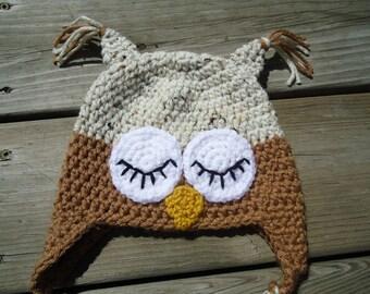 Crochet  Owl Hat....Great photo Prop