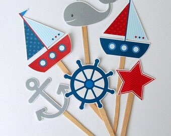 Nautical Birthday Party Cupcake Toppers Set of 12