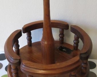 Mid Century vintage MARGARET STUDIOS USA Solid Walnut Wood Kitchen Table server Lazy Susan
