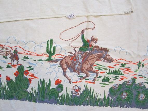 Vintage Startex Western Cowboy Table Cloth