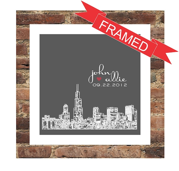 Personalized Wedding Skyline FRAMED ART Gift Print- Chicago, IL or Any ...