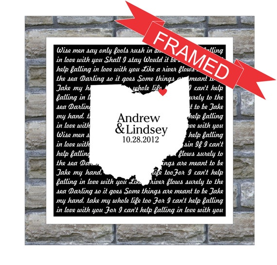 Personalized Wedding Gift Song Lyrics Love Map FRAMED ART Print - Any ...