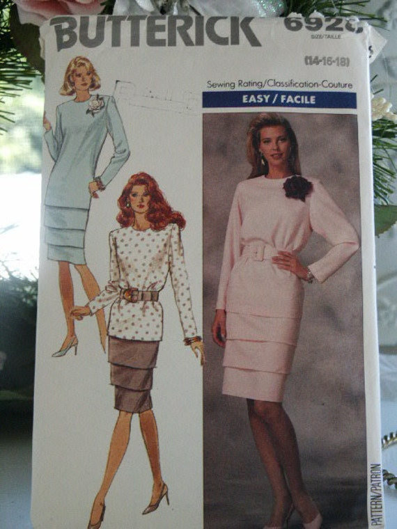 1984 Butterick Misses Tapered Blouse Top and Tier Skirt Sewing Pattern 6920 Size 14 16 18