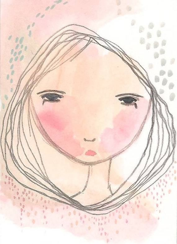 Original Girl ACEO, Painting Illustration, Whimsical Girl, Thoughts Like Rain