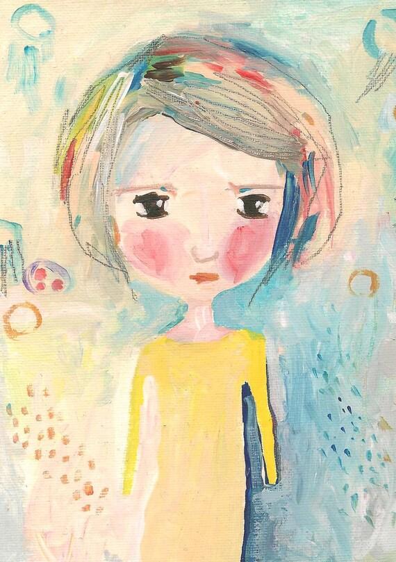 Whimsical girl painting postcard print, folk art print - My Sunshine