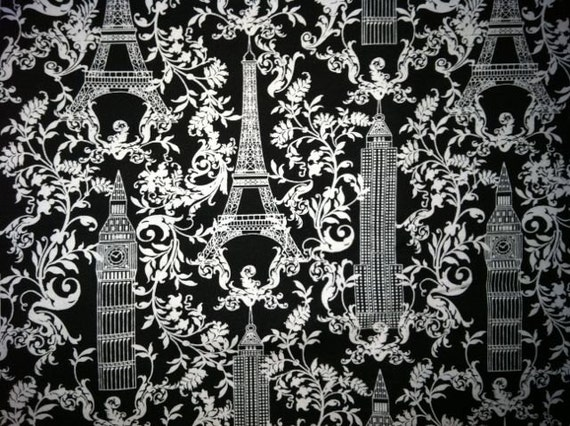 One yard M'Liss Monuments Black and White Fabric