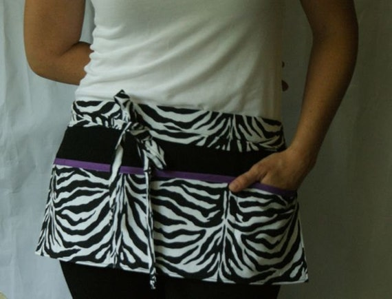 Utility Apron with pockets in black and white zebra print with purple trim
