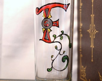 "Initial ""F"" - Handpainted Illumintated Letter - Celtic Style - 12 oz. Glass"