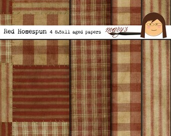 Red Homespun  4 pack 8.5x11 aged papers Download