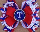 New Texas Ranger Hair Bow w/Chevron Print