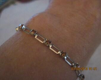 Swarovski Topaz Crystal Chain Link Silver Bracelet....1377h
