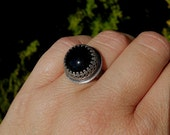 "Jewelry by Anna Unique ""Princess of Night"" Black Onyx Sterling Silver Ring Size 6,5."