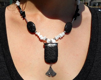 Jewelry by Anna Sterling Silver and Fine Silver Lava Rock and Ginkgo leaf Necklace