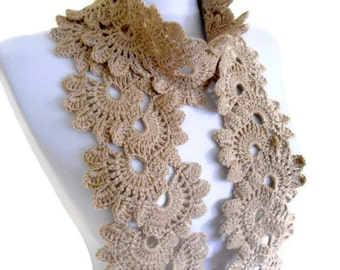 Camel, Lace Neckwarmer,scarf, fashion,gift, valentine, valentines day, winter trends, fashion, 2014