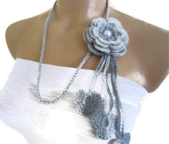 Flower Lariat Scarf, Gray and silver, Necklace with crochet flower patterns , hand-made,fashion,gift, mothers day,unique
