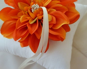 Orange Flower Bloom with Ivory Dupioni Silk Ring Pillow Bearer