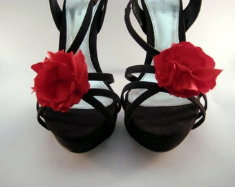 Red Ruffle Flower Shoe Clips FREE SHIPPING