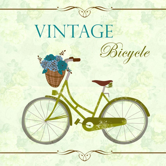 INSTANT DOWNLOAD VINTAGE Bicycle Olive Clip art plus