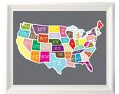 "8x10"" USA map poster print"