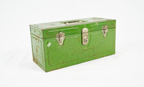 Vintage Green Industrial Metal Tool Box - Hamilton Climax