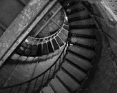 Lighthouse Spiral Staircase Fine Art Black and White Photograph