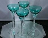 Lot Set 4 Vintage Teal Cordials w Clear Stems Wine Glasses Hawthorne Sasaki