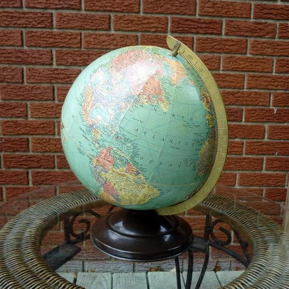 "50s World Globe metal base Replogle 10"" nice vintage condition"