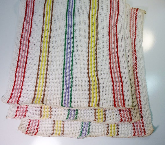 NOS 50s Vintage Striped Kitchen Dish Cloths Open Weave Never