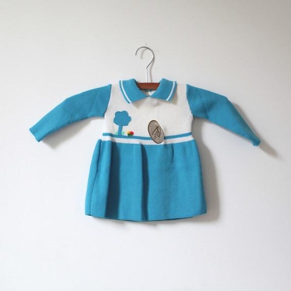 Vintage NEW OLD STOCK Blue Knit Dress (6-9 months)