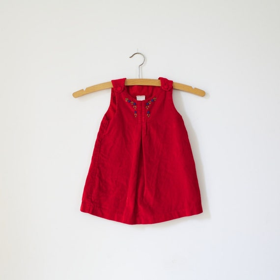 Vintage Red Velvet Flower Dress Jumper (12 months)