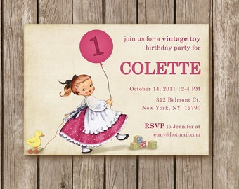 PRINTED Vintage Toy Invitation - perfect for birthday party for any little girl or boy - custom colors - 2.00 USD per invite (min. order 20)