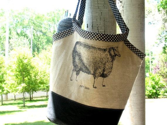 Knitting Project Bucket Bag