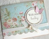 Shabby Chic Pink and Blue Floral Baby Card
