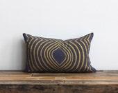 Lumbar pillow cover hand printed in metallic gold on slate blue organic hemp 12x21 Aya Contoured