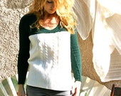 Sweetheart holiday sweater, green, white, cream, upcycled