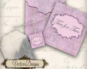 Printable Tea For Two Tea Bag Holder envelope tag instant download digital collage sheet VD0080