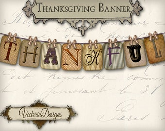 Printable Thanksgiving Banner Thankful party banner instant download digital collage sheet VD0251