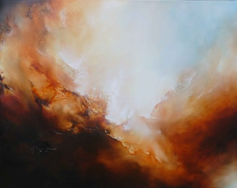 """Large Canvas Abstract Oil Painting by Simon Kenny """" In To the Breach"""" ."""