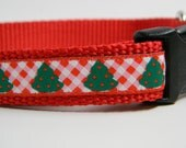 Christmas Tree Dog Collar- Red Checkerboard
