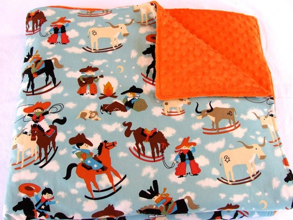 Baby Bedding: Orange and Blue Cowboy Blanket