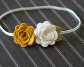 Felt Flower Headband White and Gold Roses for Baby Toddler and Girls