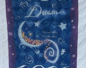 "Quilted Full Size ""Dream ""Quilt in Purple, Blue, White .and Stars"