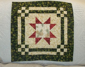Gold Black Holly and Snowflakes quilted tabletopper and a red 8 pointed Star