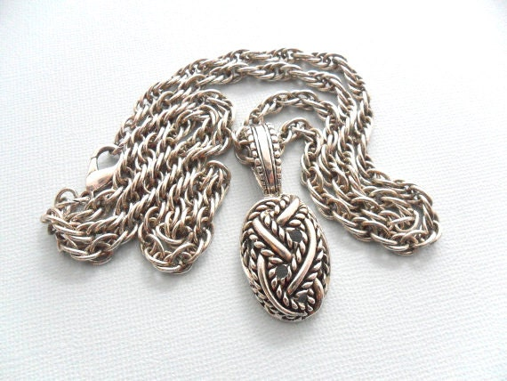Rope Chain Necklace - Silver Tone Cable Pendant
